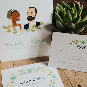 Personalised Portrait Wedding Stationery Collection - wedding stationery