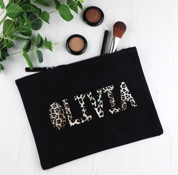 Personalised Leopard Print Make Up Bag