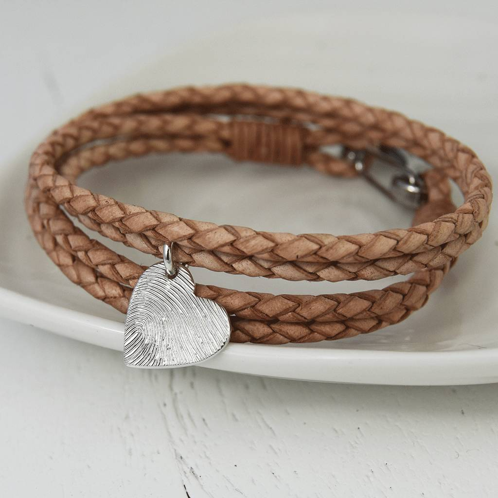 Leather Wrap Bracelet With Charms: Silver Fingerprint Charm Leather Wrap Bracelet By Hold