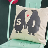 Personalised Penguin Love Canvas Cushion - home