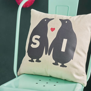 Personalised Penguin Love Canvas Cushion - wedding gifts