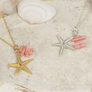 Silver Starfish And Coral Charm Pendant