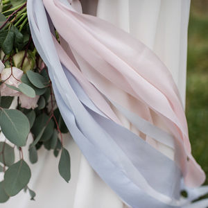 Rose Quartz And Serenity Hand Dyed Pastel Silk Ribbon