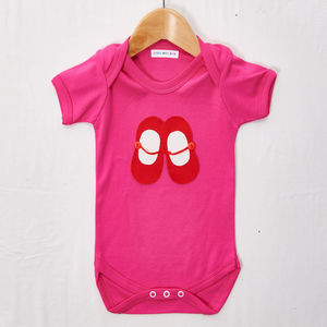 Red And White Shoes Babygrow - clothing