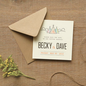 Tepee And Lace Save The Date