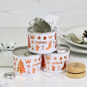 Alternative Personalised Christmas Cracker In Tin