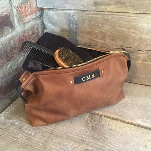 Personalised Tan Leather Toiletry Bag
