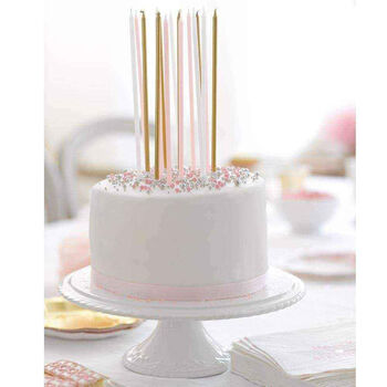 16 Long Pink And Gold Candles Candles