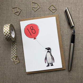Personalised 18th Birthday Card Penguin Design
