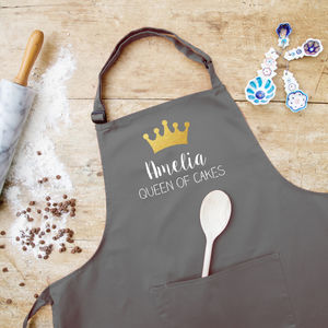Personalised Queen Apron - gifts for bakers