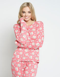 Christmas Cookie Long Pink Pyjama Set