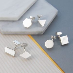 Men's Mismatched Geometric Solid Silver Cufflinks - graduation gifts