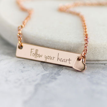 Rose Gold Follow Your Heart Charm Necklace