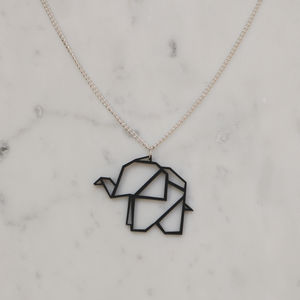 Origami Geometric Elephant Necklace - necklaces & pendants