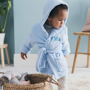 Personalised Soft Baby/Child's Dressing Gown In Blue - gifts: under £25