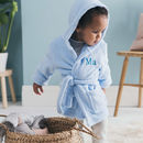 Personalised Soft Baby/Child's Dressing Gown In Blue