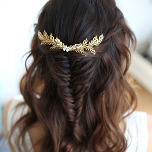 Irina Bridal Gold Leaf Hair Vine - shoreline wedding trend