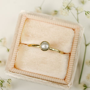 9ct Gold And Pearl Stacking Ring - 30th anniversary: pearl