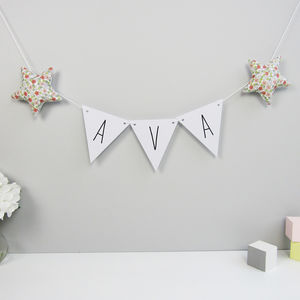 Personalised Triangle Bunting With Fabric Stars - bunting & garlands