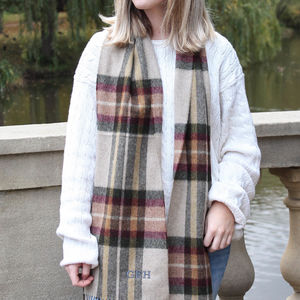 Personalised Camel Check Wool Scarf - scarves