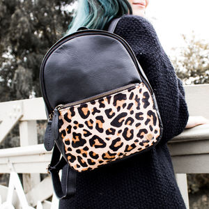 Black Leather And Leopard Print Pony Hair Mini Backpack