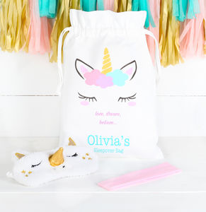 Personalised Unicorn Sleepover Bag And Accessories