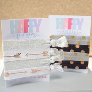 Rose Gold Elastic Hair Ties Arrows And Spots - hair accessories