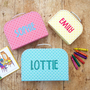 Personalised Children's Patterned Storage Suitcase - toy boxes & chests