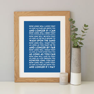 'How Long Will I Love You?' Song Lyrics Print - music