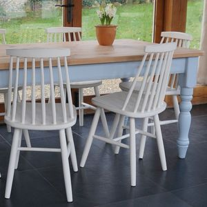 Farmhouse Table And 1960's Style Chairs Hand Painted