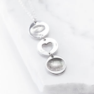 Personalised Silver Fingerprint Drop Link Pendant - necklaces & pendants