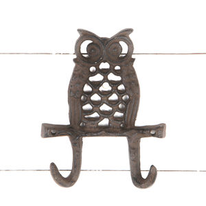 Handcast Cast Iron Owl Double Wall Hook - art & decorations