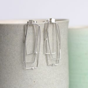 Handmade Silver Rectangular Satellite Earrings
