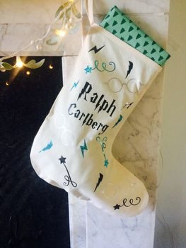 Wizard Inspired Personalised Christmas Stocking