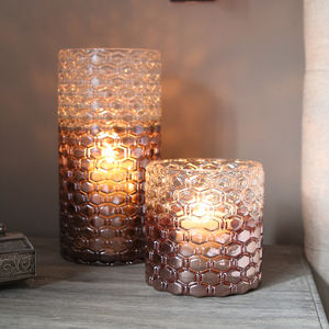 Metallic Ombre Glass Lantern - votives & tea lights