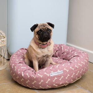 M&H Bone Print Donut Dog Bed - dogs