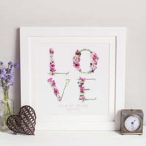 Personalised Floral Love Wedding Photographic Print - anniversary gifts