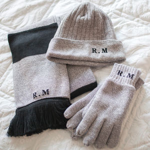 Personalised Initials Hat, Scarf And Gloves Set - gloves