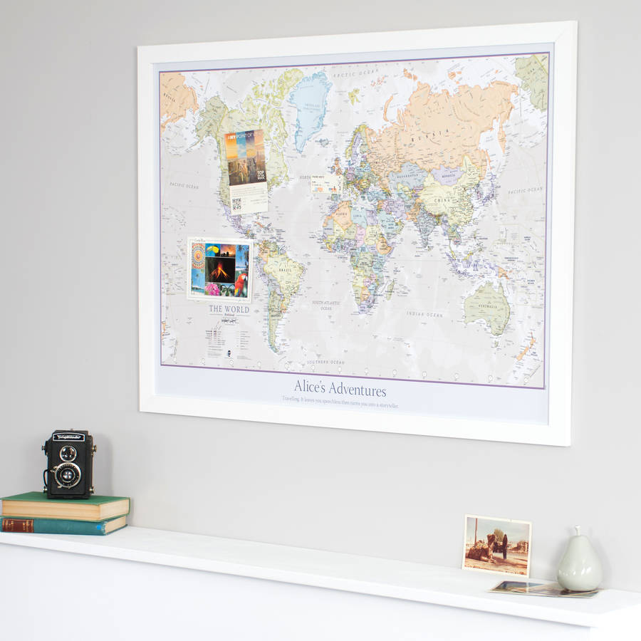 Personalised classic world map by maps international personalised classic world map gumiabroncs Gallery