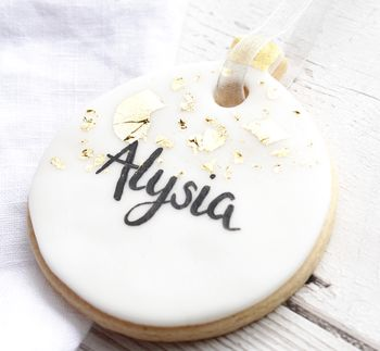 Personalised Gold Leaf Bauble Biscuit