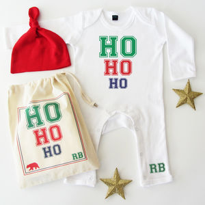 Ho Ho Ho, Baby Romper Sleepsuit Gift Set - gifts for babies & children