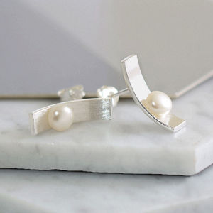 Sterling Silver Pearl Bar Earrings - earrings