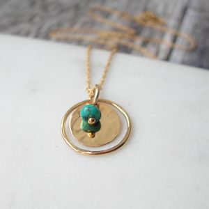 Turquoise Hammered Circle Necklace - december birthstone