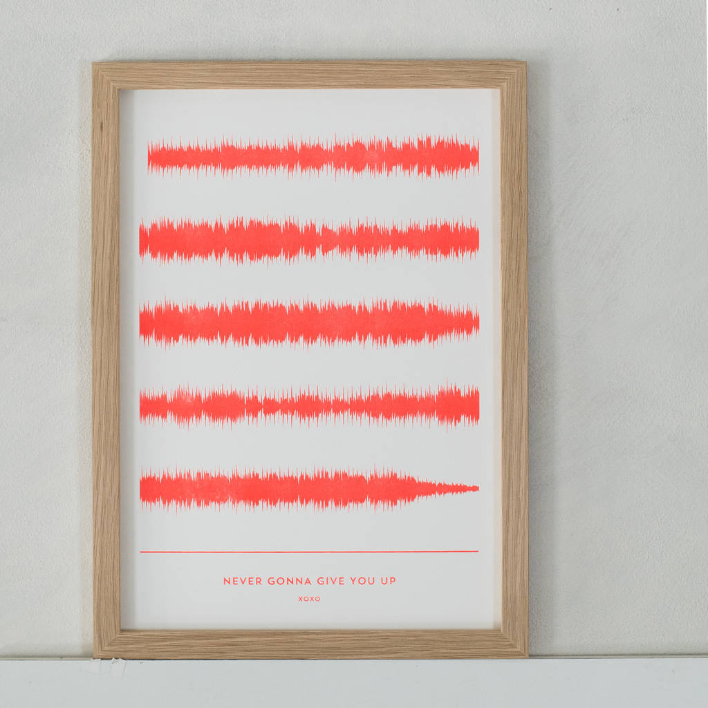 stencil printed favourite song soundwave print by yve print co ...