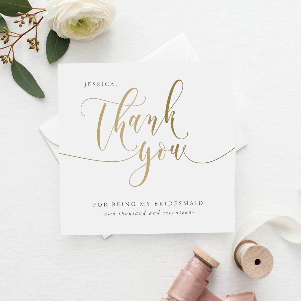 Thank You For Being My Bridesmaid Card Gold Effect By Farrah Eve