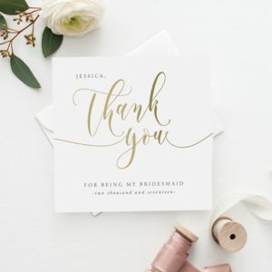 Thank You For Being My Bridesmaid Card | Gold Effect - wedding cards