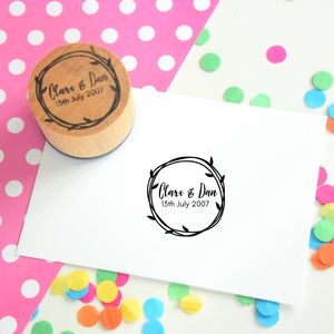 Loopy Leaves Personalised Couple Stamp - wedding favours