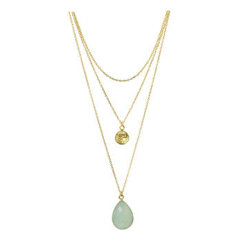 Aqua Chalcedony Gold Necklace Festival Jewellery