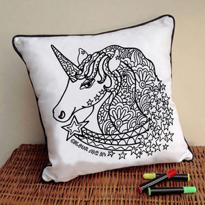Unicorn Cushion To Colour In - children's room
