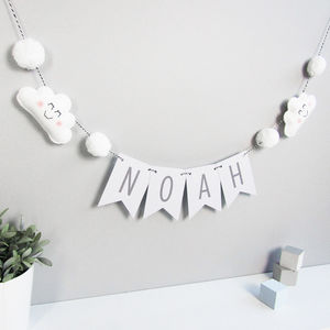 Personalised Cloud Bunting With Honeycomb Pom Poms